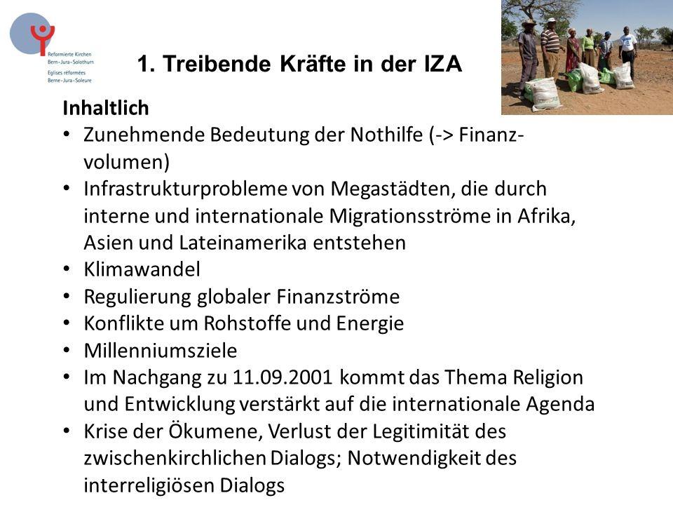 1. Treibende Kräfte in der IZA Inhaltlich Zunehmende Bedeutung der Nothilfe (-> Finanz- volumen) Infrastrukturprobleme von Megastädten, die durch inte