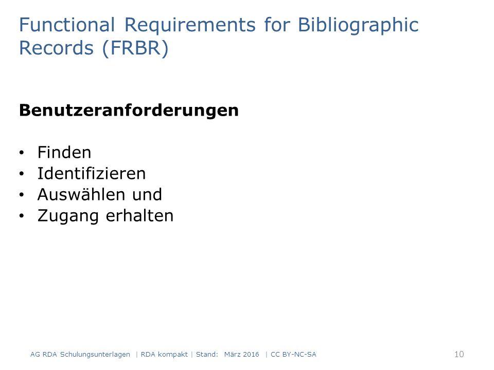 Benutzeranforderungen Finden Identifizieren Auswählen und Zugang erhalten AG RDA Schulungsunterlagen | RDA kompakt | Stand: März 2016 | CC BY-NC-SA Functional Requirements for Bibliographic Records (FRBR) 10