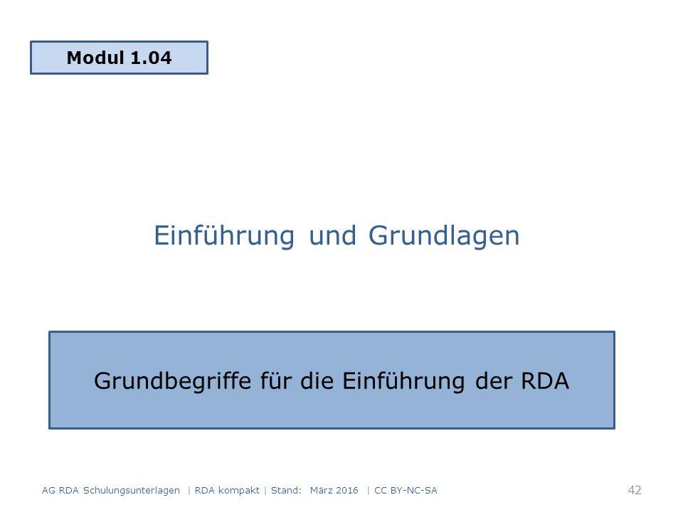 Einführung und Grundlagen Modul 1.04 AG RDA Schulungsunterlagen | RDA kompakt | Stand: März 2016 | CC BY-NC-SA Grundbegriffe für die Einführung der RDA 42