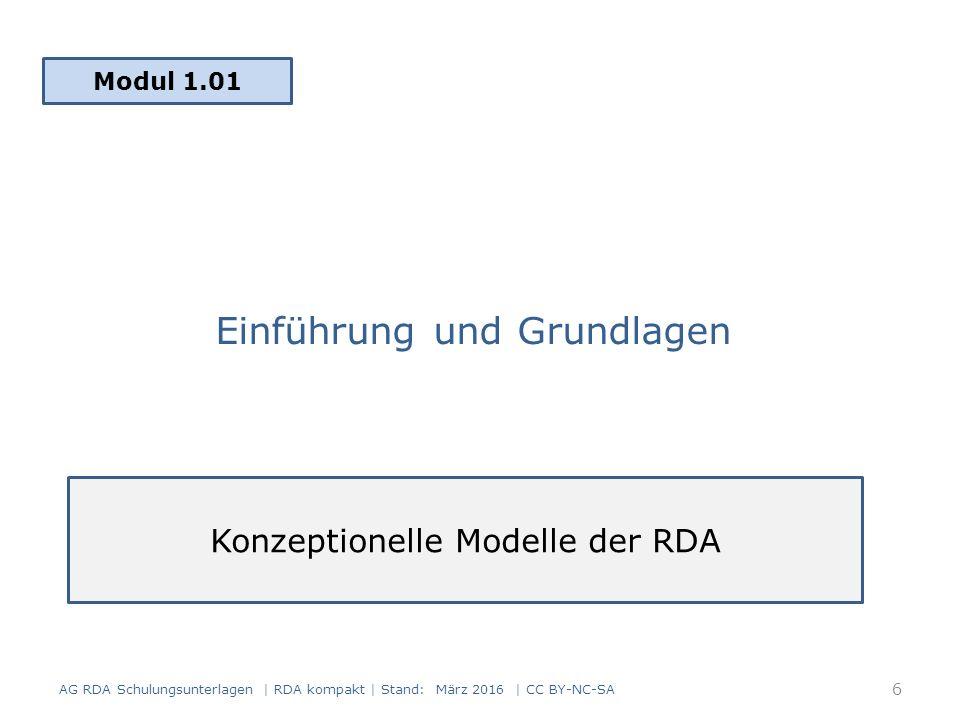 Einführung und Grundlagen Modul 1.01 AG RDA Schulungsunterlagen | RDA kompakt | Stand: März 2016 | CC BY-NC-SA Konzeptionelle Modelle der RDA 6