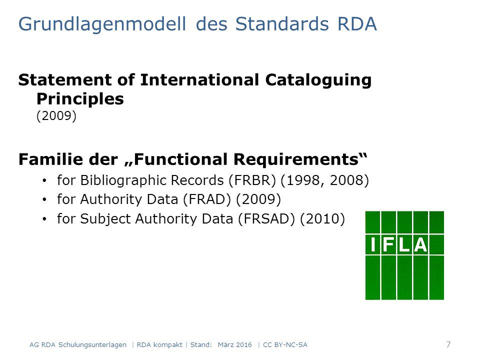 "Grundlagenmodell des Standards RDA Statement of International Cataloguing Principles (2009) Familie der ""Functional Requirements"" for Bibliographic Re"