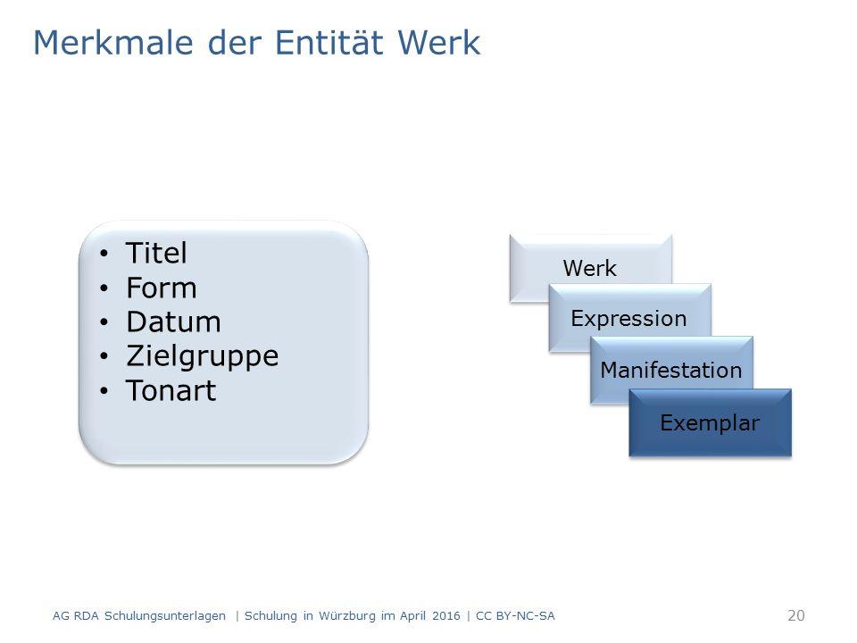Merkmale der Entität Werk AG RDA Schulungsunterlagen | Schulung in Würzburg im April 2016 | CC BY-NC-SA Titel Form Datum Zielgruppe Tonart Titel Form