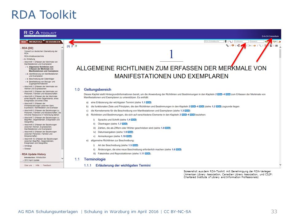 RDA Toolkit Screenshot aus dem RDA-Toolkit mit Genehmigung der RDA-Verleger (American Library Association, Canadian Library Association, und CILIP: Chartered Institute of Library and Information Professionals) AG RDA Schulungsunterlagen | Schulung in Würzburg im April 2016 | CC BY-NC-SA 33