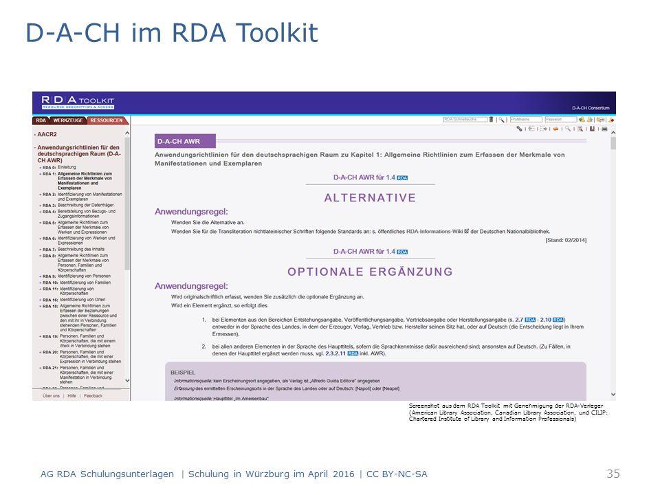 D-A-CH im RDA Toolkit AG RDA Schulungsunterlagen | Schulung in Würzburg im April 2016 | CC BY-NC-SA Screenshot aus dem RDA Toolkit mit Genehmigung der