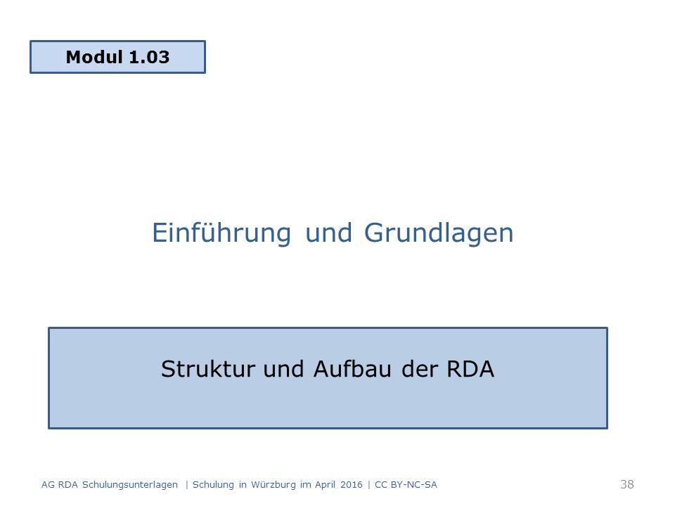 Einführung und Grundlagen Modul 1.03 AG RDA Schulungsunterlagen | Schulung in Würzburg im April 2016 | CC BY-NC-SA Struktur und Aufbau der RDA 38