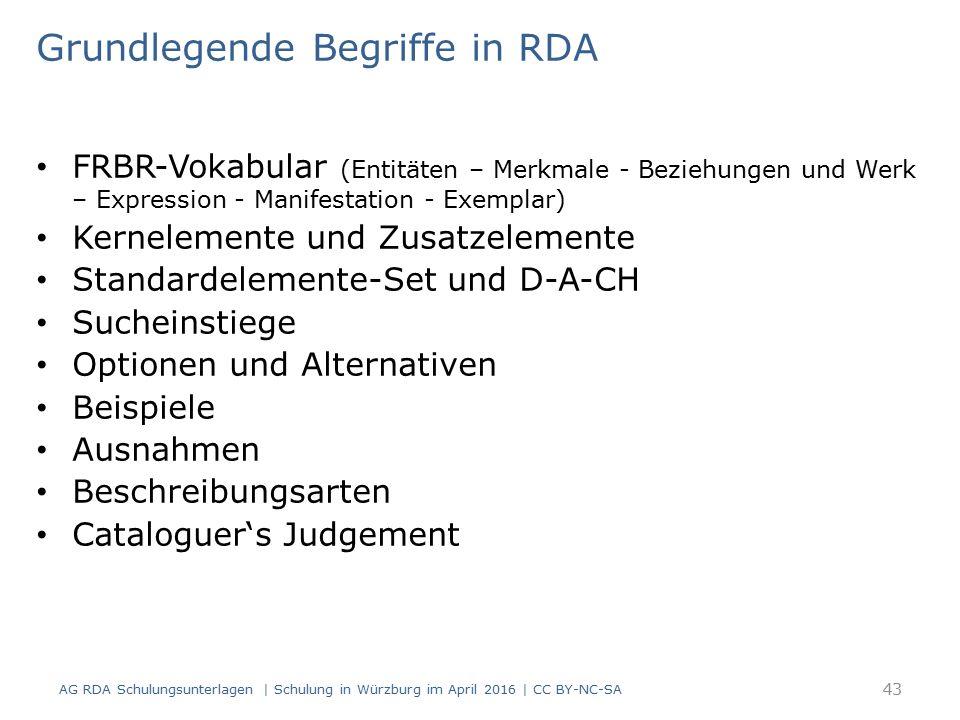 Grundlegende Begriffe in RDA FRBR-Vokabular (Entitäten – Merkmale - Beziehungen und Werk – Expression - Manifestation - Exemplar) Kernelemente und Zusatzelemente Standardelemente-Set und D-A-CH Sucheinstiege Optionen und Alternativen Beispiele Ausnahmen Beschreibungsarten Cataloguer's Judgement AG RDA Schulungsunterlagen | Schulung in Würzburg im April 2016 | CC BY-NC-SA 43