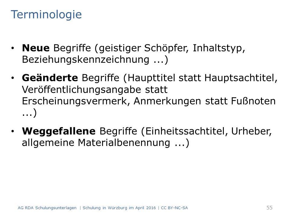 Terminologie Neue Begriffe (geistiger Schöpfer, Inhaltstyp, Beziehungskennzeichnung...) Geänderte Begriffe (Haupttitel statt Hauptsachtitel, Veröffentlichungsangabe statt Erscheinungsvermerk, Anmerkungen statt Fußnoten...) Weggefallene Begriffe (Einheitssachtitel, Urheber, allgemeine Materialbenennung...) AG RDA Schulungsunterlagen | Schulung in Würzburg im April 2016 | CC BY-NC-SA 55