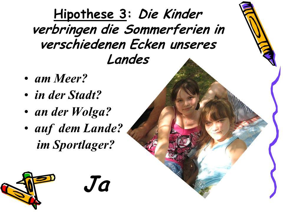 Hipothese 3: Die Kinder verbringen die Sommerferien in verschiedenen Ecken unseres Landes am Meer.