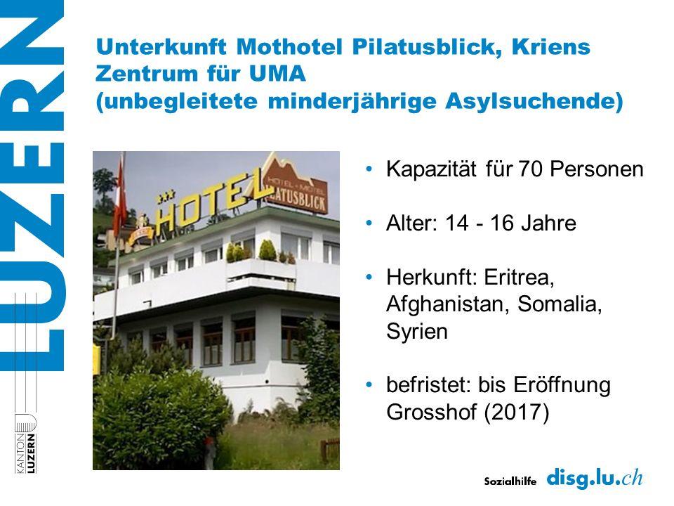Unterkunft Mothotel Pilatusblick, Kriens Zentrum für UMA (unbegleitete minderjährige Asylsuchende) Kapazität für 70 Personen Alter: 14 - 16 Jahre Herkunft: Eritrea, Afghanistan, Somalia, Syrien befristet: bis Eröffnung Grosshof (2017)