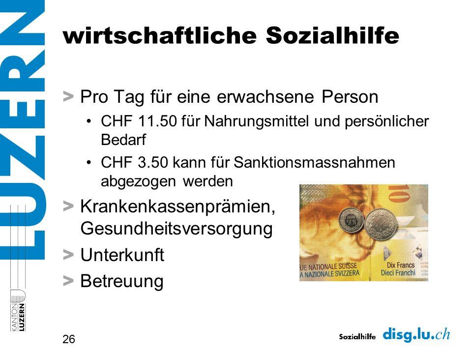 wirtschaftliche Sozialhilfe > Pro Tag für eine erwachsene Person CHF 11.50 für Nahrungsmittel und persönlicher Bedarf CHF 3.50 kann für Sanktionsmassn