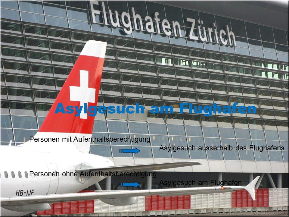 Asylgesuch am Flughafen Personen mit Aufenthaltsberechtigung Asylgesuch ausserhalb des Flughafens Personen ohne Aufenthaltsberechtigung Asylgesuch am Flughafen