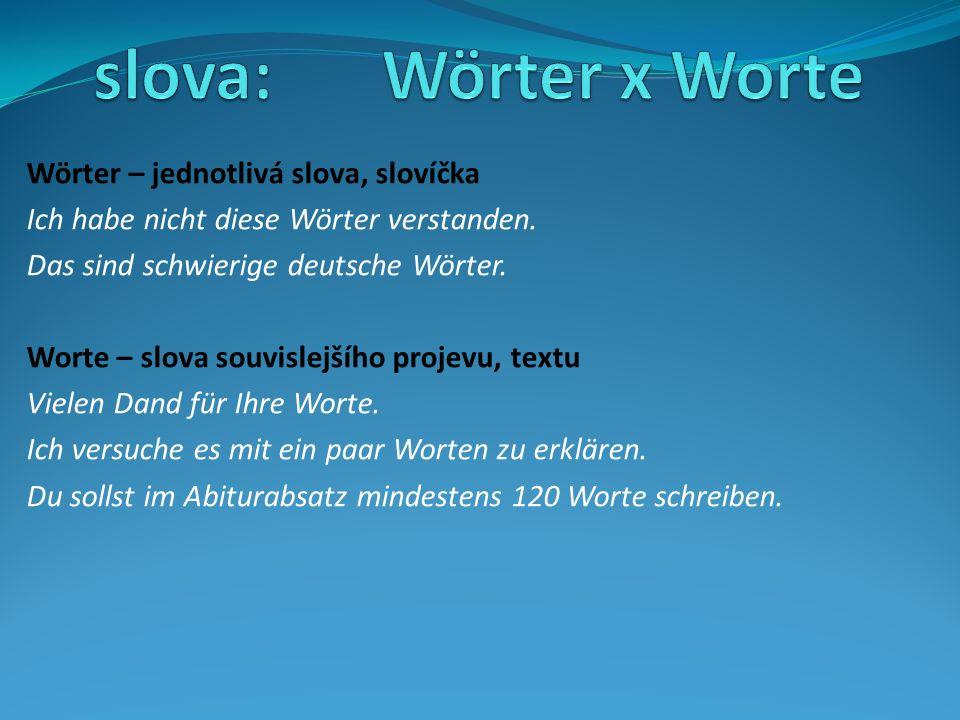 Wörter – jednotlivá slova, slovíčka Ich habe nicht diese Wörter verstanden. Das sind schwierige deutsche Wörter. Worte – slova souvislejšího projevu,