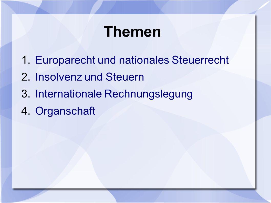 Themen 1.Europarecht und nationales Steuerrecht 2.Insolvenz und Steuern 3.Internationale Rechnungslegung 4.Organschaft