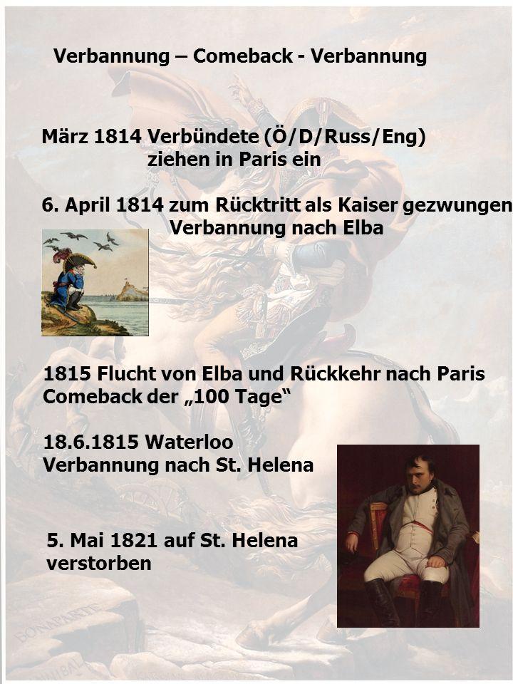 Verbannung – Comeback - Verbannung März 1814 Verbündete (Ö/D/Russ/Eng) ziehen in Paris ein 6.