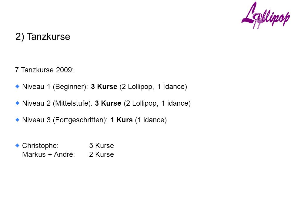 2) Tanzkurse 7 Tanzkurse 2009:  Niveau 1 (Beginner): 3 Kurse (2 Lollipop, 1 Idance)  Niveau 2 (Mittelstufe): 3 Kurse (2 Lollipop, 1 idance)  Niveau 3 (Fortgeschritten): 1 Kurs (1 idance)  Christophe:5 Kurse Markus + André:2 Kurse
