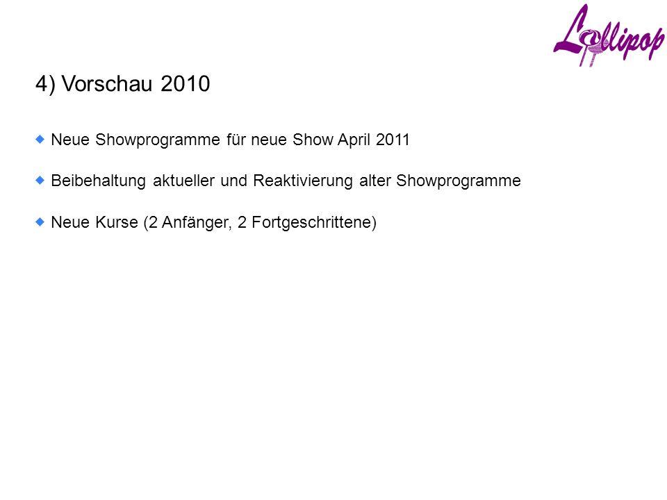 4) Vorschau 2010  Neue Kurse (2 Anfänger, 2 Fortgeschrittene)  Beibehaltung aktueller und Reaktivierung alter Showprogramme  Neue Showprogramme für neue Show April 2011