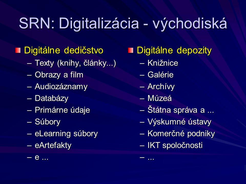 SRN: Digitalizácia - východiská Digitálne dedičstvo –Texty (knihy, články...) –Obrazy a film –Audiozáznamy –Databázy –Primárne údaje –Súbory –eLearning súbory –eArtefakty –e...