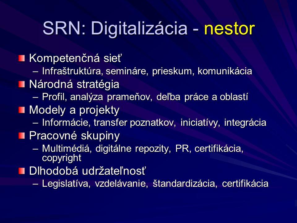 SRN: Digitalizácia - nestor Kompetenčná sieť –Infraštruktúra, semináre, prieskum, komunikácia Národná stratégia –Profil, analýza prameňov, deľba práce a oblastí Modely a projekty –Informácie, transfer poznatkov, iniciatívy, integrácia Pracovné skupiny –Multimédiá, digitálne repozity, PR, certifikácia, copyright Dlhodobá udržateľnosť –Legislatíva, vzdelávanie, štandardizácia, certifikácia
