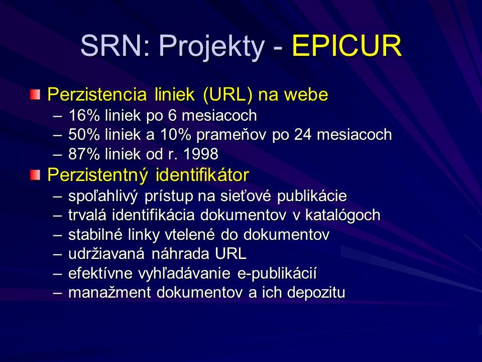 SRN: Projekty - EPICUR Perzistencia liniek (URL) na webe –16% liniek po 6 mesiacoch –50% liniek a 10% prameňov po 24 mesiacoch –87% liniek od r.