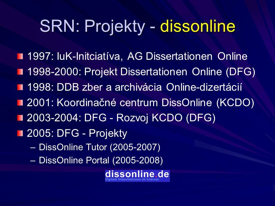 SRN: Projekty - dissonline 1997: IuK-Initciatíva, AG Dissertationen Online 1998-2000: Projekt Dissertationen Online (DFG) 1998: DDB zber a archivácia Online-dizertácií 2001: Koordinačné centrum DissOnline (KCDO) 2003-2004: DFG - Rozvoj KCDO (DFG) 2005: DFG - Projekty – –DissOnline Tutor (2005-2007) – –DissOnline Portal (2005-2008)