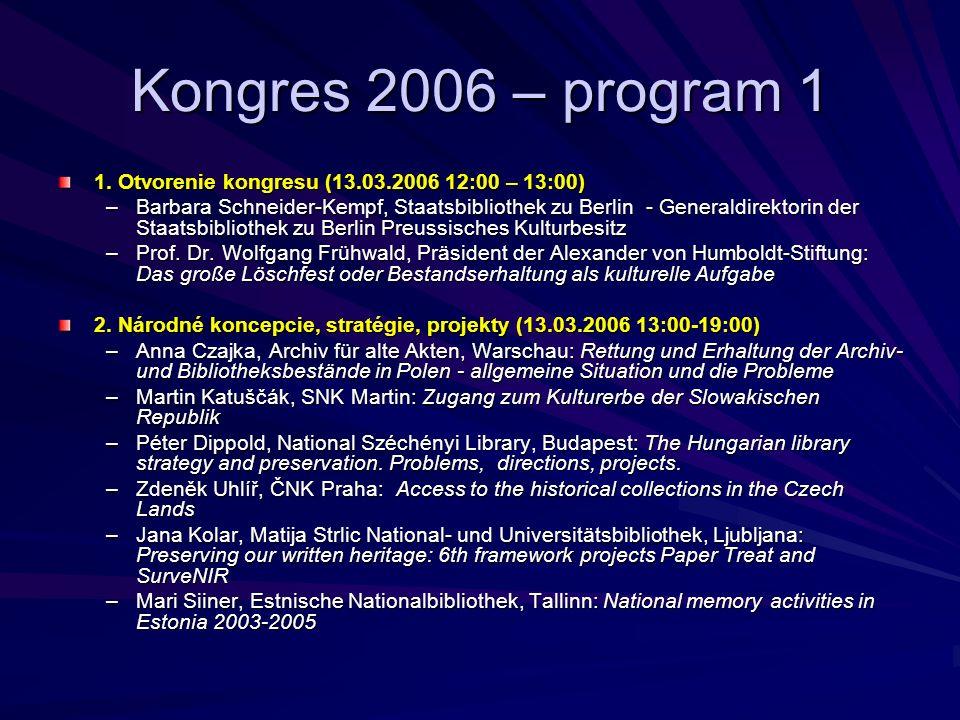 Kongres 2006 – program 1 1.
