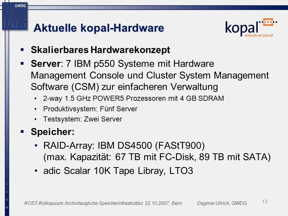 KOST-Kolloquium: Archivtaugliche Speicherinfrastruktur, 22.10.2007, BernDagmar Ullrich, GWDG Aktuelle kopal-Hardware  Skalierbares Hardwarekonzept  Server: 7 IBM p550 Systeme mit Hardware Management Console und Cluster System Management Software (CSM) zur einfacheren Verwaltung 2-way 1.5 GHz POWER5 Prozessoren mit 4 GB SDRAM Produktivsystem: Fünf Server Testsystem: Zwei Server  Speicher: RAID-Array: IBM DS4500 (FAStT900) (max.