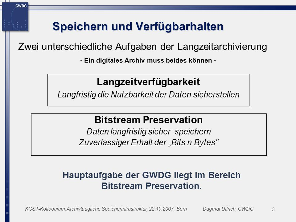 """KOST-Kolloquium: Archivtaugliche Speicherinfrastruktur, 22.10.2007, BernDagmar Ullrich, GWDG Speichern und Verfügbarhalten Bitstream Preservation Daten langfristig sicher speichern Zuverlässiger Erhalt der """"Bits n Bytes Langzeitverfügbarkeit Langfristig die Nutzbarkeit der Daten sicherstellen Zwei unterschiedliche Aufgaben der Langzeitarchivierung - Ein digitales Archiv muss beides können - Hauptaufgabe der GWDG liegt im Bereich Bitstream Preservation."""