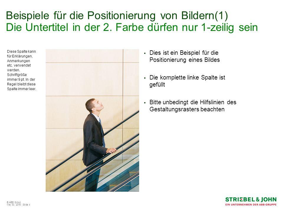 © ABB Group May 30, 2016 | Slide 4 Beispiele für die Positionierung von Bildern(1) Die Untertitel in der 2.
