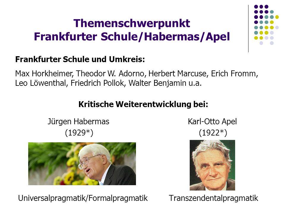 Themenschwerpunkt Frankfurter Schule/Habermas/Apel Universalpragmatik/Formalpragmatik Transzendentalpragmatik Jürgen Habermas Karl-Otto Apel (1929*) (1922*) Frankfurter Schule und Umkreis: Max Horkheimer, Theodor W.