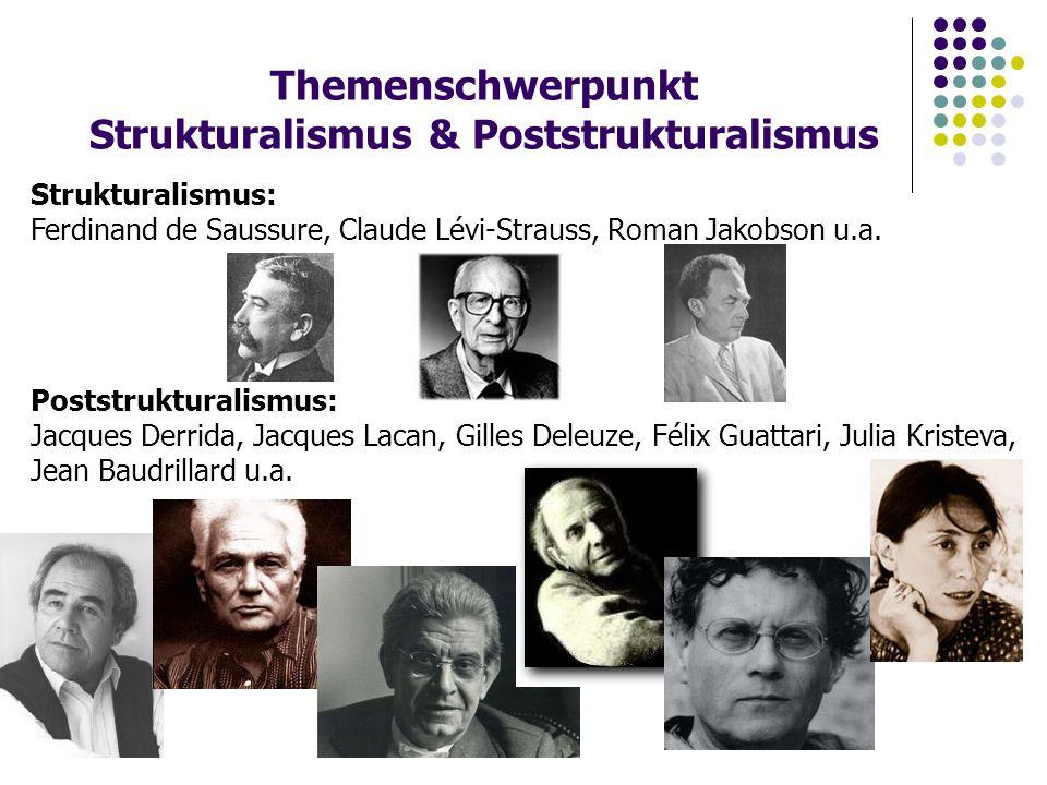 Themenschwerpunkt Strukturalismus & Poststrukturalismus Poststrukturalismus: Jacques Derrida, Jacques Lacan, Gilles Deleuze, Félix Guattari, Julia Kristeva, Jean Baudrillard u.a.