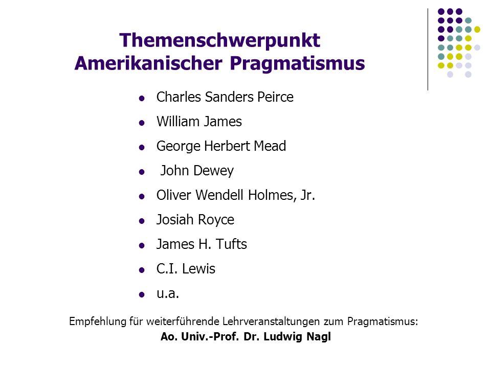 Themenschwerpunkt Amerikanischer Pragmatismus Charles Sanders Peirce William James George Herbert Mead John Dewey Oliver Wendell Holmes, Jr.