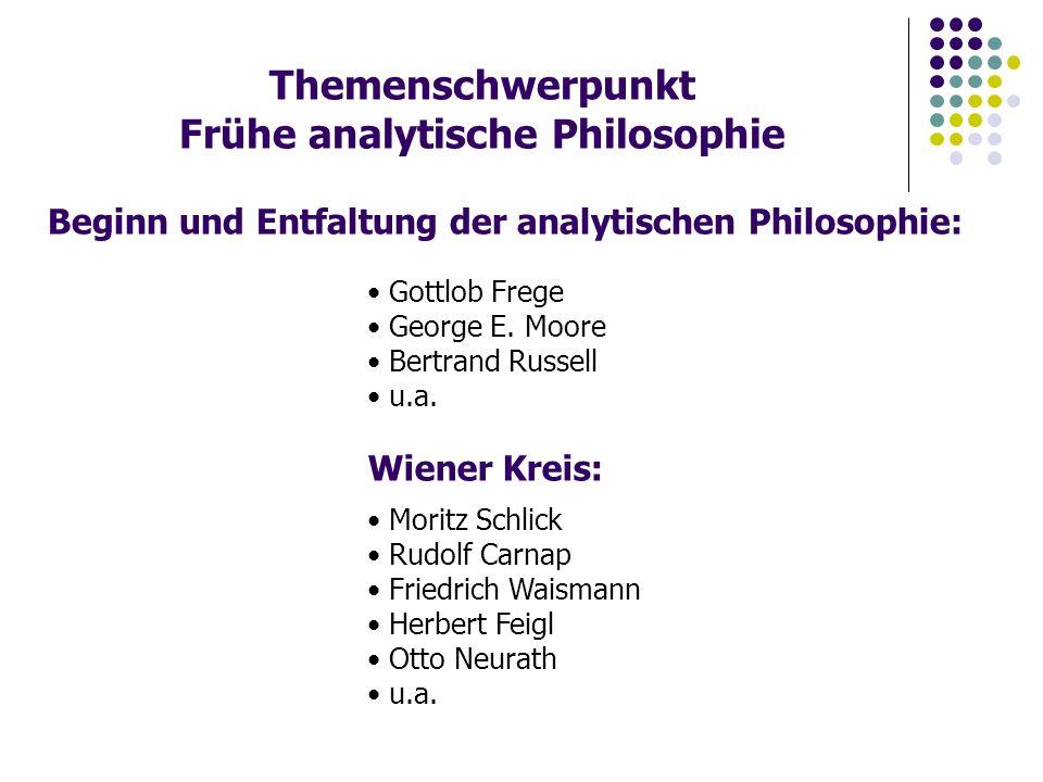 Themenschwerpunkt Frühe analytische Philosophie Beginn und Entfaltung der analytischen Philosophie: Gottlob Frege George E.