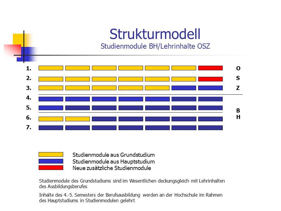 Strukturmodell Studienmodule BH/Lehrinhalte OSZ Studienmodule aus Grundstudium OSZOSZ BHBH Studienmodule aus Hauptstudium Neue zusätzliche Studienmodule Studienmodule des Grundstudiums sind im Wesentlichen deckungsgleich mit Lehrinhalten des Ausbildungsberufes Inhalte des 4.-5.