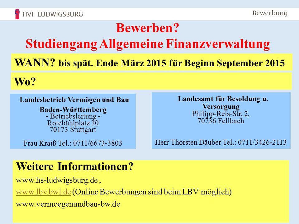 HVF LUDWIGSBURG Bachelorstudiengang AFV 12 Bewerbung Bewerben.