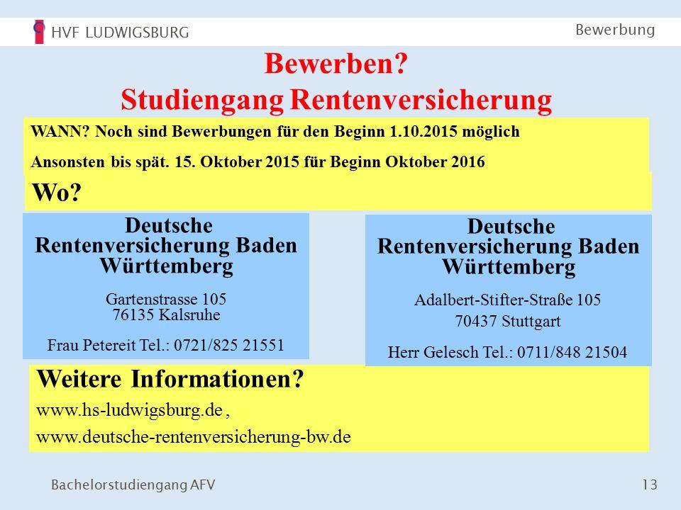 HVF LUDWIGSBURG Bachelorstudiengang AFV 13 Bewerbung Bewerben.