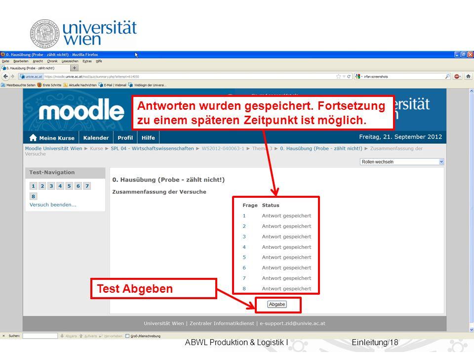 ABWL Produktion & Logistik IEinleitung/18 Antworten wurden gespeichert.