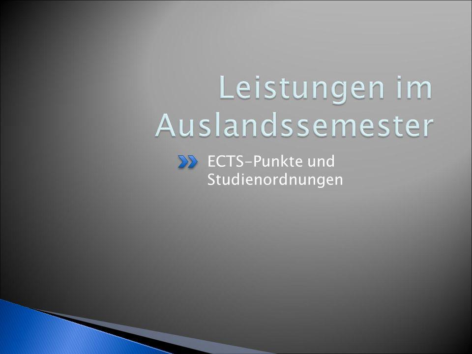 ECTS-Punkte und Studienordnungen