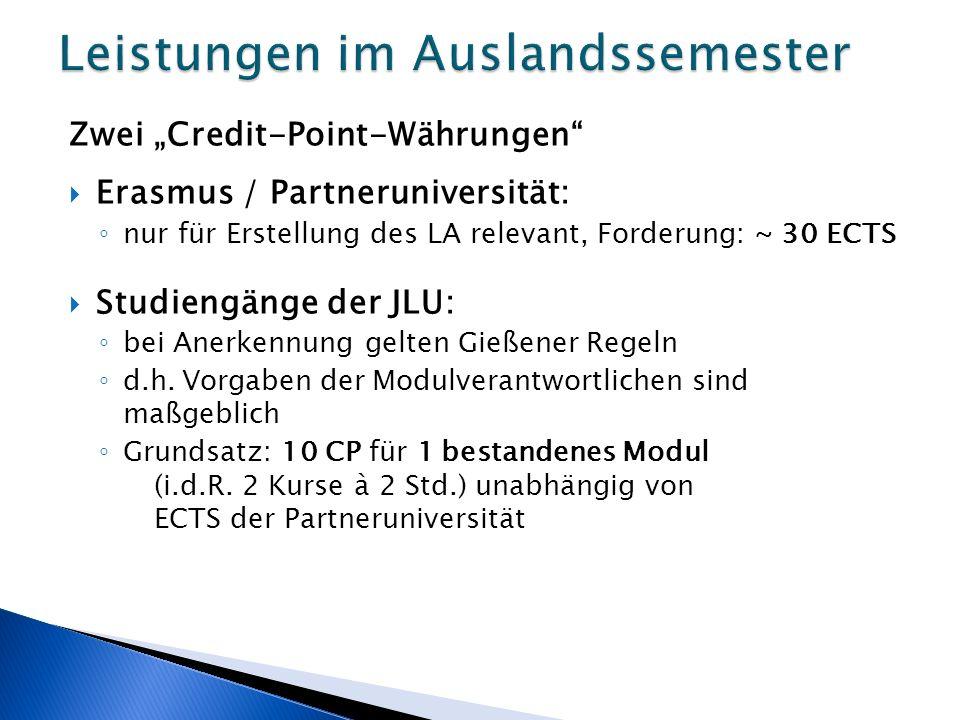 """Zwei """"Credit-Point-Währungen  Erasmus / Partneruniversität: ◦ nur für Erstellung des LA relevant, Forderung: ~ 30 ECTS  Studiengänge der JLU: ◦ bei Anerkennung gelten Gießener Regeln ◦ d.h."""