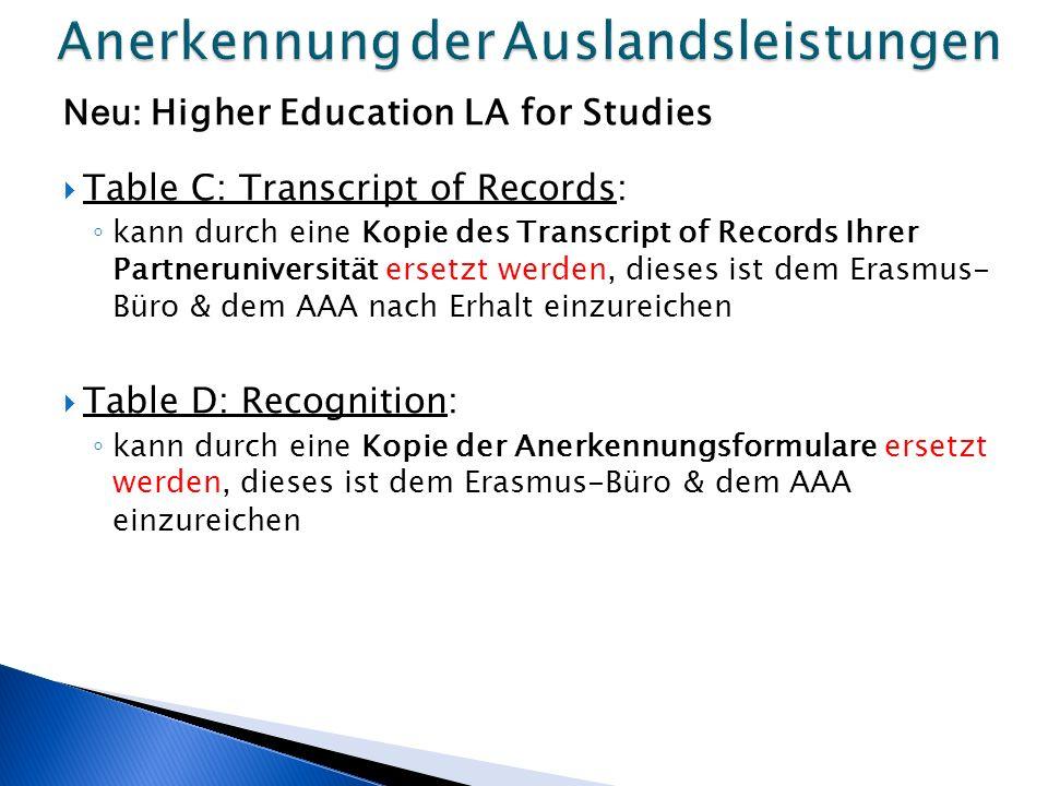 Neu: Higher Education LA for Studies  Table C: Transcript of Records: ◦ kann durch eine Kopie des Transcript of Records Ihrer Partneruniversität ersetzt werden, dieses ist dem Erasmus- Büro & dem AAA nach Erhalt einzureichen  Table D: Recognition: ◦ kann durch eine Kopie der Anerkennungsformulare ersetzt werden, dieses ist dem Erasmus-Büro & dem AAA einzureichen