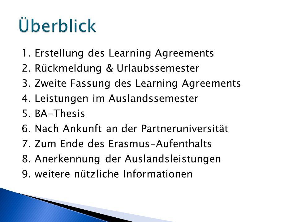 1. Erstellung des Learning Agreements 2. Rückmeldung & Urlaubssemester 3. Zweite Fassung des Learning Agreements 4. Leistungen im Auslandssemester 5.
