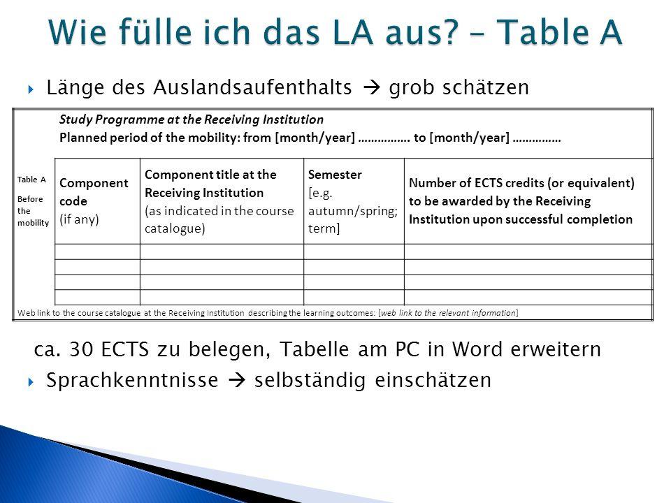  Länge des Auslandsaufenthalts  grob schätzen ca. 30 ECTS zu belegen, Tabelle am PC in Word erweitern  Sprachkenntnisse  selbständig einschätzen S