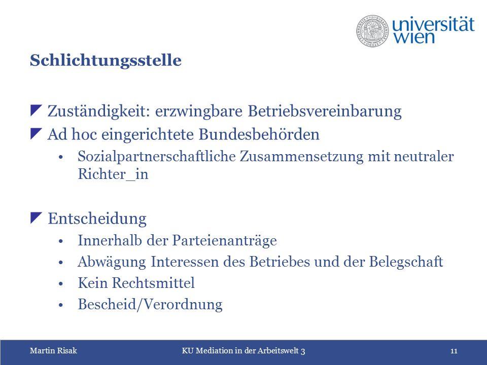 Martin RisakKU Mediation in der Arbeitswelt 311 Schlichtungsstelle  Zuständigkeit: erzwingbare Betriebsvereinbarung  Ad hoc eingerichtete Bundesbehö