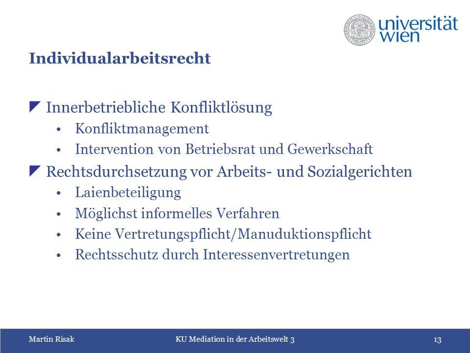 Martin RisakKU Mediation in der Arbeitswelt 313 Individualarbeitsrecht  Innerbetriebliche Konfliktlösung Konfliktmanagement Intervention von Betriebs