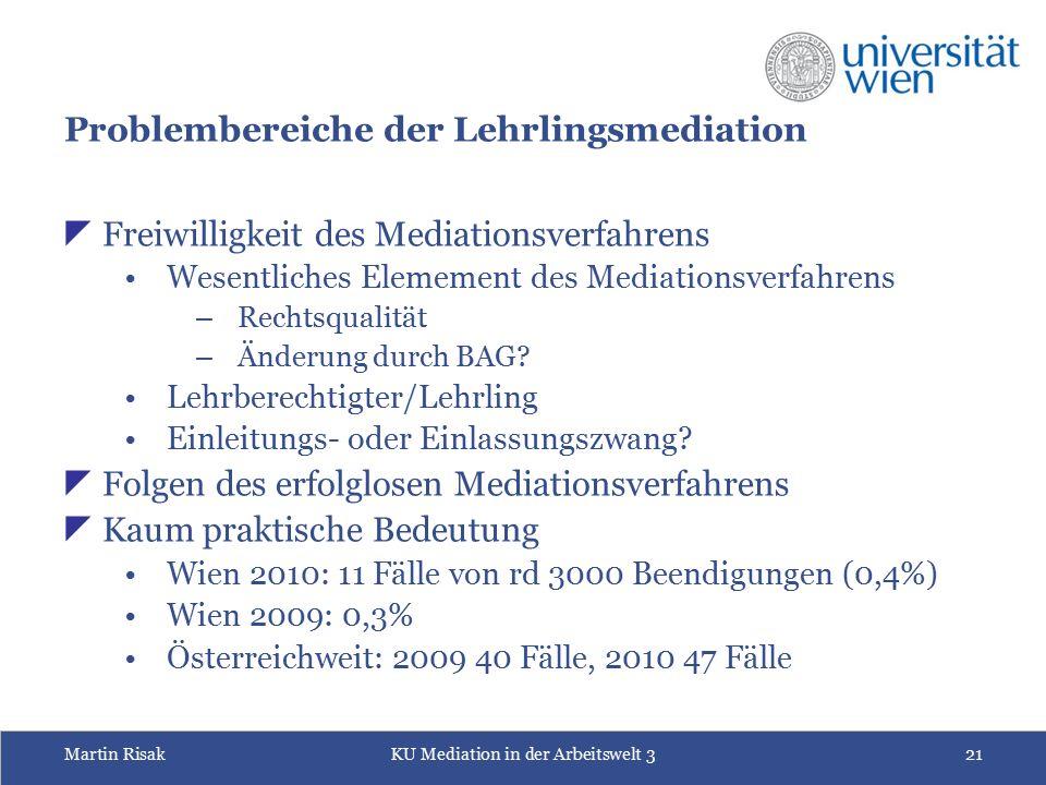 Martin RisakKU Mediation in der Arbeitswelt 321 Problembereiche der Lehrlingsmediation  Freiwilligkeit des Mediationsverfahrens Wesentliches Elememen