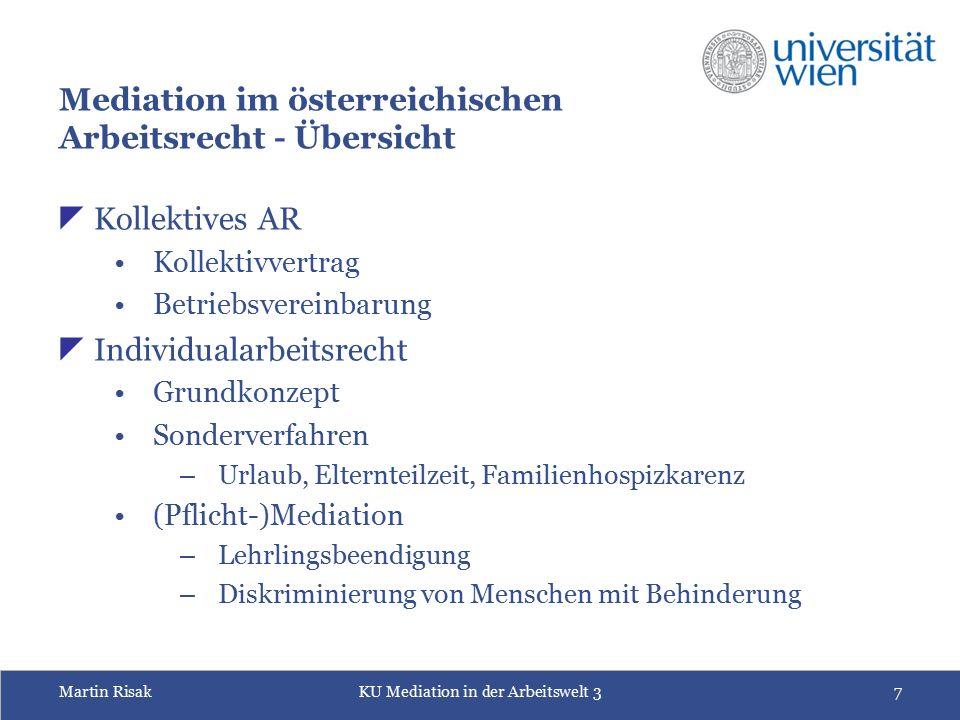Martin RisakKU Mediation in der Arbeitswelt 37 Mediation im österreichischen Arbeitsrecht - Übersicht  Kollektives AR Kollektivvertrag Betriebsverein