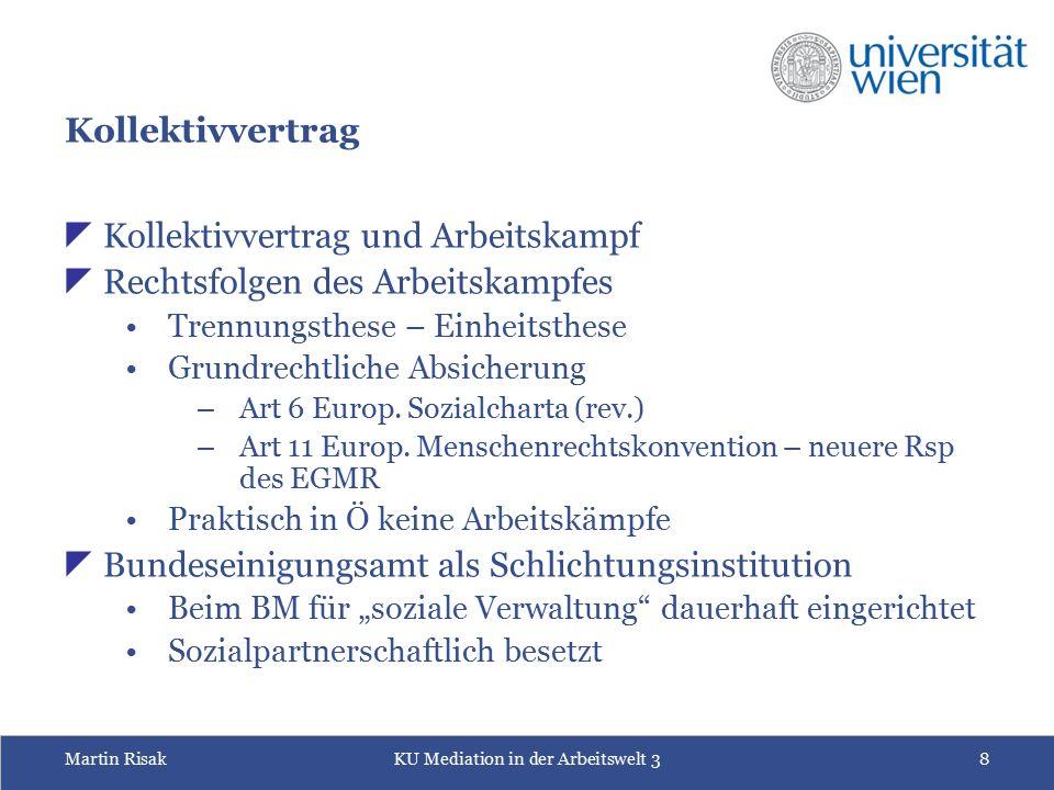 Martin RisakKU Mediation in der Arbeitswelt 38 Kollektivvertrag  Kollektivvertrag und Arbeitskampf  Rechtsfolgen des Arbeitskampfes Trennungsthese –