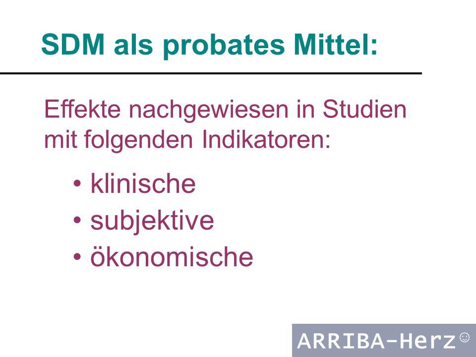 ARRIBA-Herz ☺ klinische subjektive ökonomische SDM als probates Mittel: Effekte nachgewiesen in Studien mit folgenden Indikatoren: