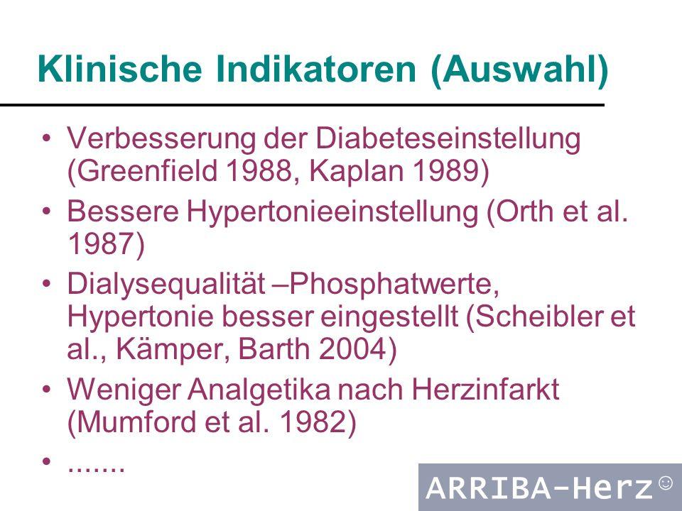 ARRIBA-Herz ☺ Klinische Indikatoren (Auswahl) Verbesserung der Diabeteseinstellung (Greenfield 1988, Kaplan 1989) Bessere Hypertonieeinstellung (Orth et al.