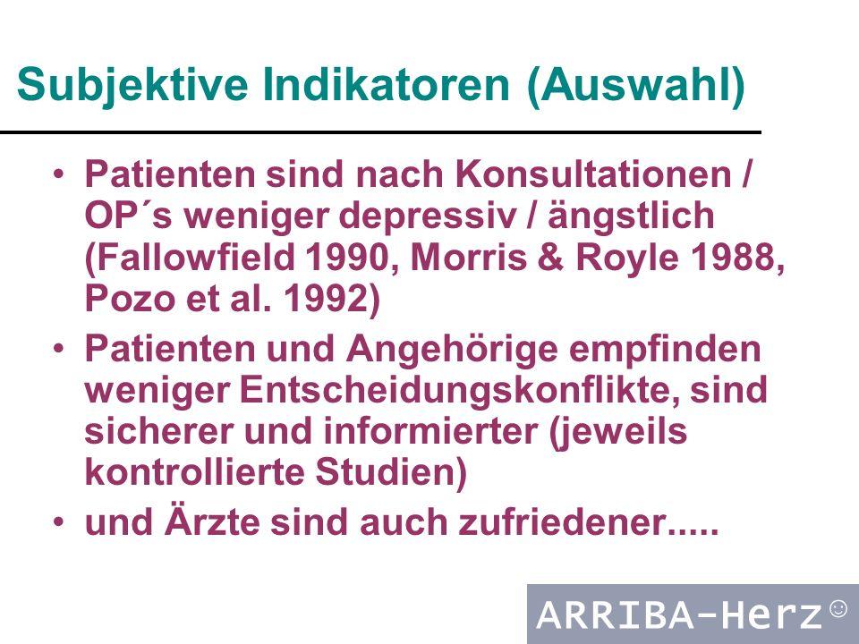 ARRIBA-Herz ☺ Subjektive Indikatoren (Auswahl) Patienten sind nach Konsultationen / OP´s weniger depressiv / ängstlich (Fallowfield 1990, Morris & Royle 1988, Pozo et al.
