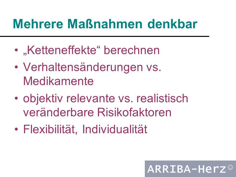 """ARRIBA-Herz ☺ Mehrere Maßnahmen denkbar """"Ketteneffekte"""" berechnen Verhaltensänderungen vs. Medikamente objektiv relevante vs. realistisch veränderbare"""